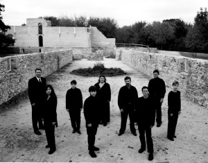 The group in 2002: (back row, l. to r.) Bryan Lopuck, Danielle de Moissac, Angela Neufeld, Donald Warrener and Michael Thompson; (front row, l. to r.) Karine Beaudette, Christopher Sullivan, Andrew Balfour and Carolyn Boyes, 2002. (Photo: Megan Thom)