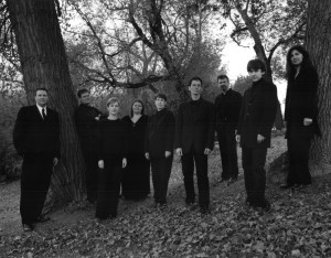 Photo taken for our first CD: (from l. to r.) Bryan Lopuck, Michael Thompson, Carolyn Boyes, Angela Neufeld, Danielle de Moissac, Andrew Balfour, Donald Warrener, Christopher Sullivan and Karine Beaudette, 2002. (Photo: Megan Thom)