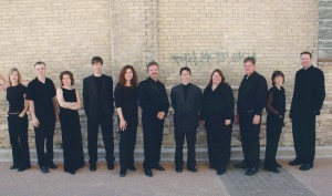 The group in 2003: (from l. to r.) Carolyn Boyes, Daniel Peasgood, Nicole Lafrenière, Richard Moody, Karine Beaudette, Donald Warrener, Andrew Balfour, Angela Neufeld, Michael Thompson, Danielle de Moissac, Bryan Lopuck.