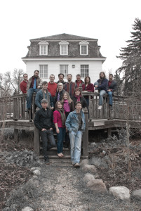 The group in Saint-Norbert in 2010: (back row, from l. to r.) Brock McEwen, Timothy Friesen, Bruce Schulz, Michael McKay, Alan Schroeder, Michael Thompson, Karine Beaudette, Bethany Paetkau and Ben Campbell; (middle row, from l. to r.) Tim Funk, Daniel Peasgood, Mary Ellen Packer and Angela Neufeld.