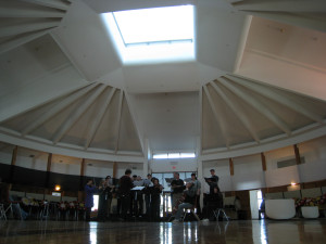 In rehearsal at the Thunderbird House, for the Four Directions concert, 2011. The stage was moveable and changed directions for every one of the concert's four parts.
