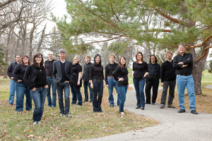 The group in 2011: (from l. to r.) Brock McEwen, Angela Neufeld, Elle Salvalaggio, Daniel Peasgood, Ross Brownlee, Beth Tait, Thomas McKibbin, Suzanne Vouriot, Michael Schellenberg, Mélodie Langevin, Karine Beaudette, Michael McKay, Alan Schroeder and Michael Thompson. (Photo: Dan Menheer)