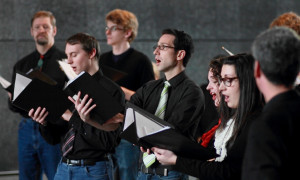 During our free Christmas mini-concert in Manitoba Hydro Place, 2012. (Photo: Chris Black)