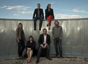 Correction Line Ensemble, our collaborators for Troubadours and Tricksters, 2013. The group is composed of (front, from l. to r.) Cristina Zacharias, Christine Fellows, Robert Honstein, John K. Samson, and (up, from l. to r.) Ed Reifel and Leanne Zacharias. (Photo: Cory Penner)