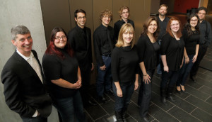 The group in 2013: (back row, from l. to r.) Ross Brownlee, Angela Neufeld, Nathan Dyck, Michael Schellenberg, Thomas McKibbin; (front row, from l. to r.) Carolyn Boyes, Karine Beaudette, Brooklyn Friesen, Elle Salvalaggio and Michael McKay. (Photo: Chris Black)